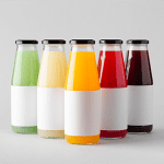 Juice Bottle Mock-Up - Multiple Bottles. Horizontal Label-1